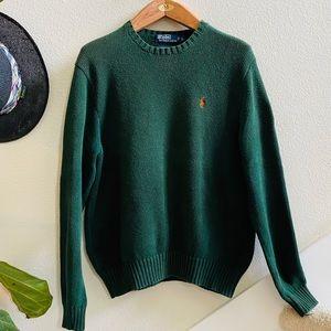 POLO RALPH LAUREN green crewneck sweater L cotton